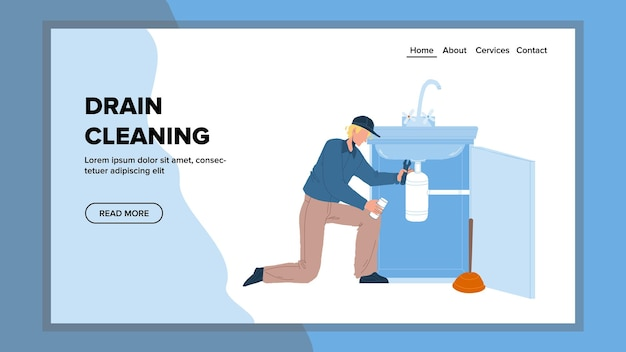 Mechanik czyszczenia drenażu z wektorem sprzętu. czyszczenie i usuwanie blokady odpływu rur młody hydraulik z kluczem i tłokiem. ilustracja kreskówka usługi naprawy znaków sieci web