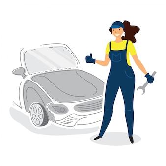 Mechanik kobieta mechanika samochodowego w stylu płaski z kciukiem do góry