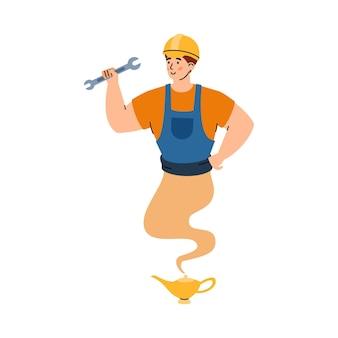 Mechanik lub mechanik wyglądający jak ilustracja kreskówka wektor dżin na białym tle