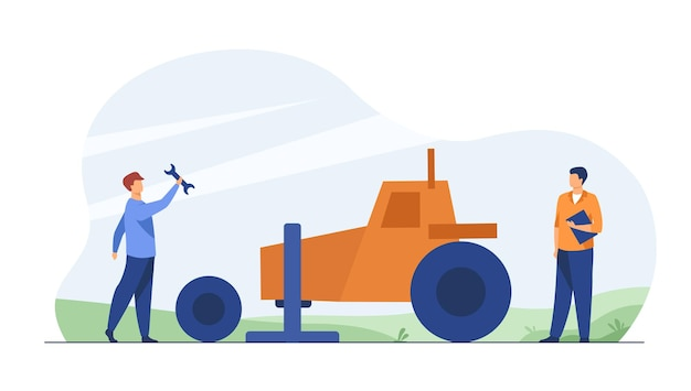 Mechanik naprawiający ciągnik rolniczy na zewnątrz. zmiana koła, opony, narzędzia. ilustracja kreskówka