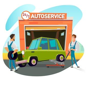 Mechanik podnosi samochód na regulowanym podnośniku w celu sprawdzenia.