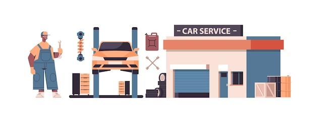 Mechanik pracuje i naprawia pojazd serwis samochodowy naprawa samochodów i sprawdza koncepcję stacji konserwacji na białym tle ilustracji wektorowych poziome