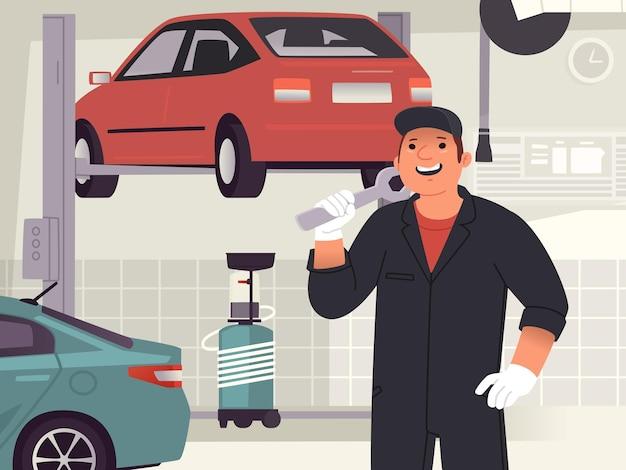 Mechanik samochodowy człowiek przed serwis samochodowy lub warsztat samochodowy. postać uśmiechniętego faceta z kluczem francuskim. ilustracja wektorowa w stylu płaski