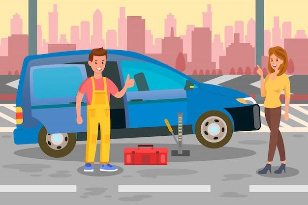 Mechanik, specjalista ilustracja płaski kolor połączenia