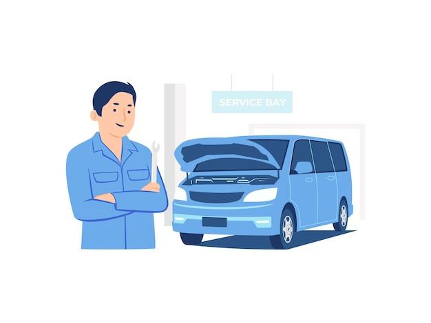 Mechanik trzyma klucz stojący przed samochodem na ilustracji koncepcji obszaru obsługi warsztatu naprawy samochodów