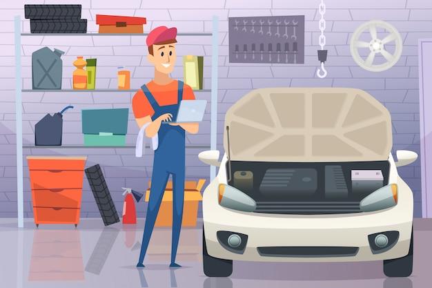 Mechanik w garażu. auto usługa mężczyzna naprawianie naprawia pojazd kreskówki tło