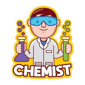 Mechanik zawód maskotka logo wektor w stylu kreskówki