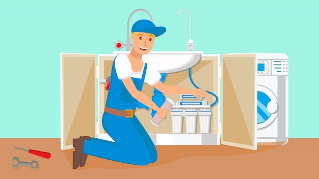 Mechanik zmienia wkłady filtra wody wektor