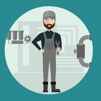Mechanika budowy przemysłowy pracownik fabryczny.