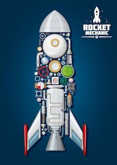 Mechanika rakiet. statek kosmiczny ze szczegółowymi częściami silnika i strukturą nadwozia, takimi jak stożek dziobowy, płetwy i właz, dysza