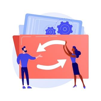 Mechanizm pracy zespołowej. postaci z kreskówek obracają się razem. współpraca, współpraca, partnerstwo. budowanie zespołu i ilustracja koncepcja technologii współpracy
