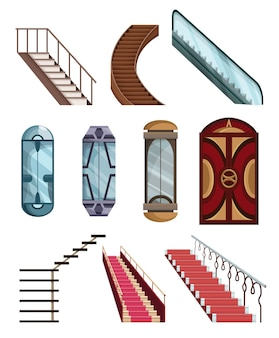 Mechanizmy wind lub windy zbiórki i zestaw schodów. drzwi kabin do windy mechanicznej. kreskówka na białym tle płaskie wektorowe ikony. elementy do lobby hotelowego lub centrum handlowego.