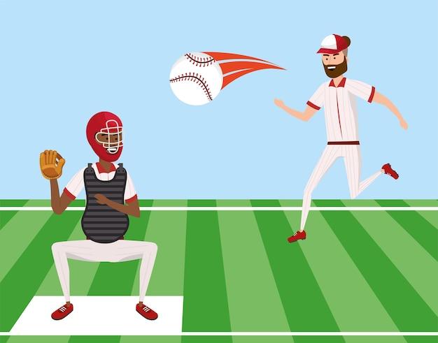 Mecz baseballowy i zawodnicy z piłką