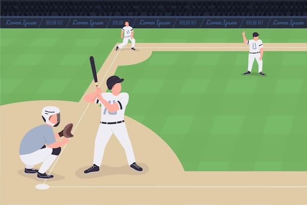 Mecz baseballowy na płasko. rywalizacja między dwoma zespołami. profesjonalni gracze drużyny baseballowej postacie z kreskówek 2d z ogromnym stadionem pełnym ludzi