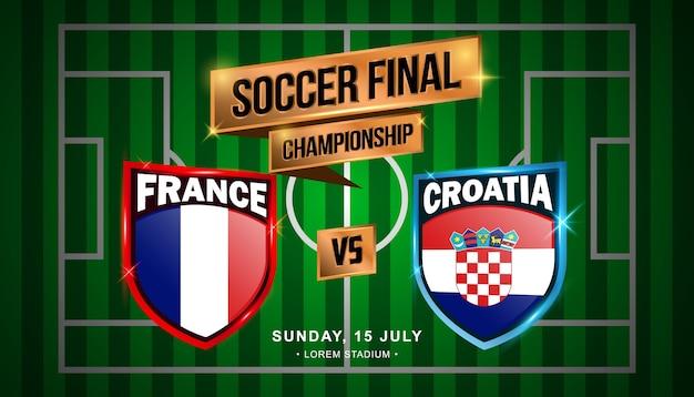 Mecz finałowy piłki nożnej między francją i chorwacją