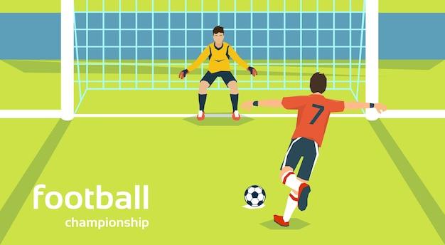 Mecz piłki nożnej bramkarz chroniący bramy gracz kopie piłkę