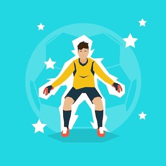 Mecz piłki nożnej bramkarz chroniący bramy