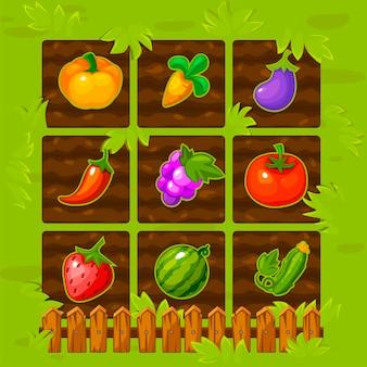 Mecz pole gry farmy z drewnianym płotem i jagodami.