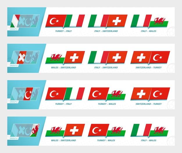 Mecze piłkarskie w grupie a europejskiego turnieju piłki nożnej 2020-21. zestaw ikon sportu wektor.