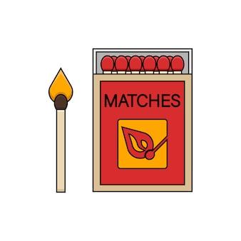 Mecze. płonąca zapałka z ogniem, otwarte pudełko zapałek. ilustracja na białym tle w stylu monoline