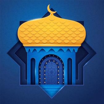 Meczet arabski wykonany z papieru lub kościół islamski z kopułą i półksiężycem