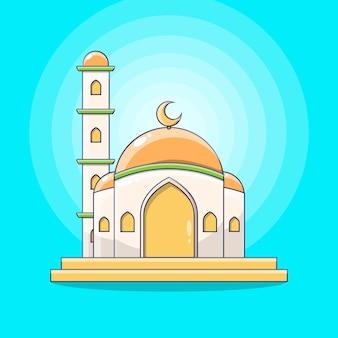 Meczet ilustracja budowanie muzułmańskiego tła modlitwy i karty z pozdrowieniami