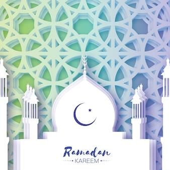 Meczet. kartkę z życzeniami ramadan kareem z arabskim arabeskowym oknem. półksiężyc.