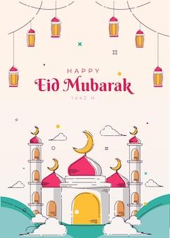 Meczet line art plakat i tło karty z pozdrowieniami eid mubarak islamskie ilustracje