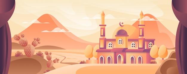 Meczet na pustyni ilustracji
