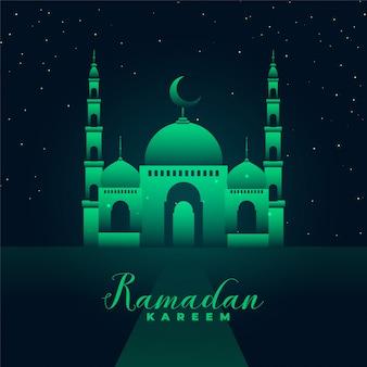 Meczet sylwetka z zielonymi światłami ramadan kareem