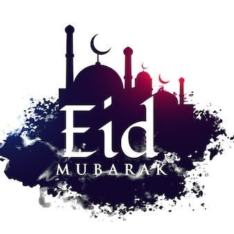 Meczet w kształcie grunge tle festiwalu eid
