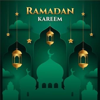 Meczet w monochromatycznych odcieniach zieleni eid mubarak