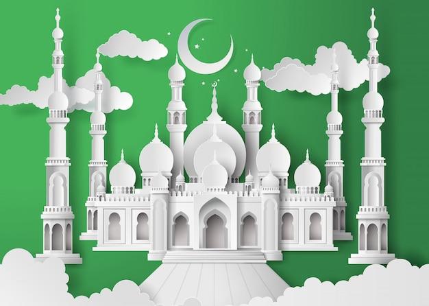 Meczet w nocnym księżycu