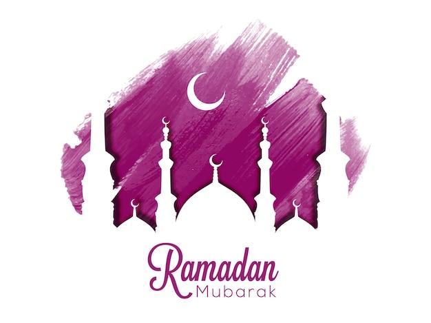Meczet z fioletową łatą pędzla z białą ilustracją bg ramadan