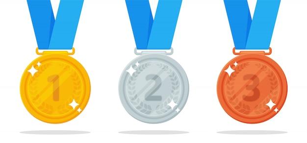 Medal wektor. złote, srebrne i brązowe medale są nagrodą zwycięzcy wydarzenia sportowego.