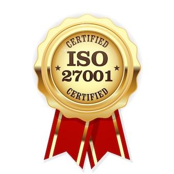 Medal z certyfikatem iso 27001 z czerwoną wstążką