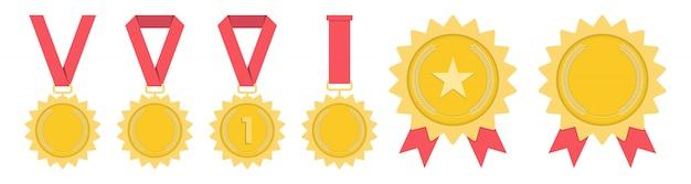 Medal - złoty, srebrny, brązowy. 1., 2. i 3. miejsce. trofeum z czerwoną wstążką. płaskie styl - wektor.