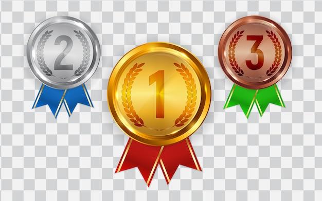 Medal złoty, srebrny i brązowy. odznaka ikony pierwsze, drugie i trzecie miejsce.