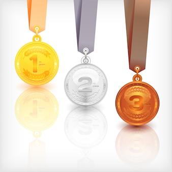 Medale sportowe. miejsca zwycięstwa. ilustracja