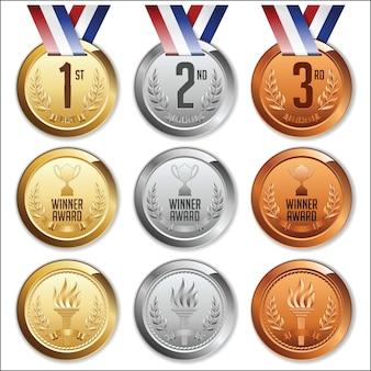 Medale ze wstążką. zestaw złotych, srebrnych i brązowych medali.