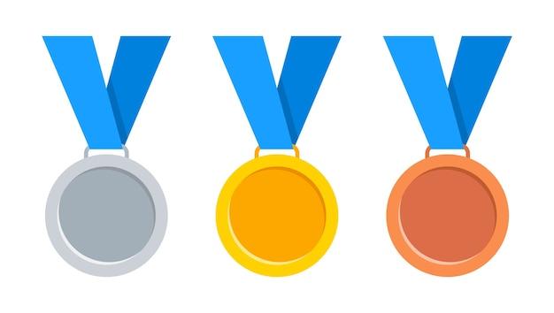 Medale złote, srebrne i brązowe z niebieską wstążką.