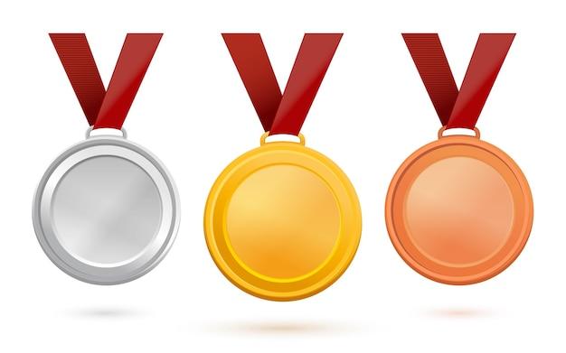 Medale złote, srebrne i brązowe. zestaw medali sportowych na czerwonej wstążce. szablony medali z wolnym miejscem na ilustrację tekstu