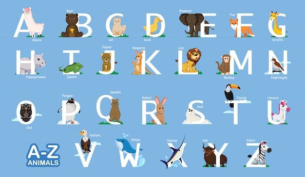 Media instruktażowe az zwierząt, list od a do z i różne zwierzęta w pobliżu liter jasnoniebieskie tło