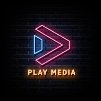 Media odtwórz logo w stylu neonowego znaku