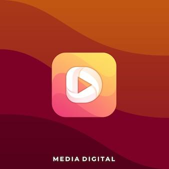 Media play ikona aplikacji ilustracja szablon projektu