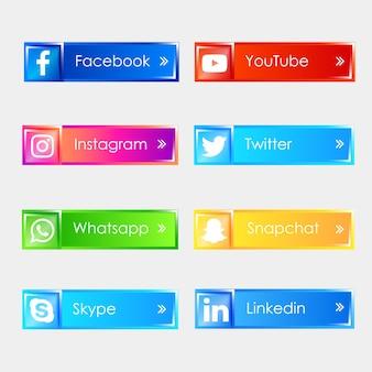 Media Społecznościowe 3d Błyszczące Ikony Premium Wektorów