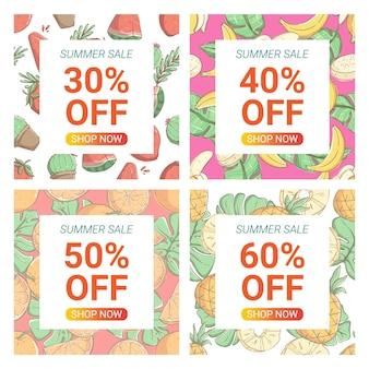 Media społecznościowe doodle banery sprzedaży letniej i kolekcja szablonów reklam internetowych