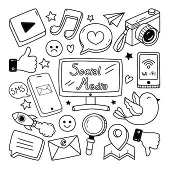 Media społecznościowe doodle ilustracji