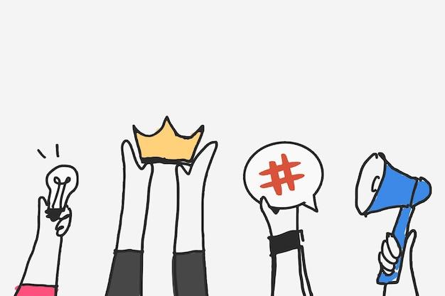 Media społecznościowe doodle wektor, koncepcja marketingu treści