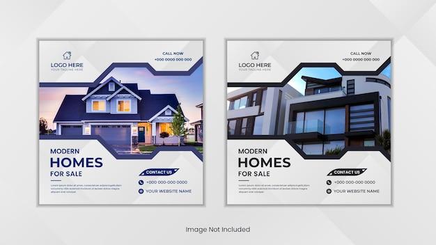 Media społecznościowe dotyczące nieruchomości publikują minimalistyczny design z dwoma kolorowymi prostymi kształtami.